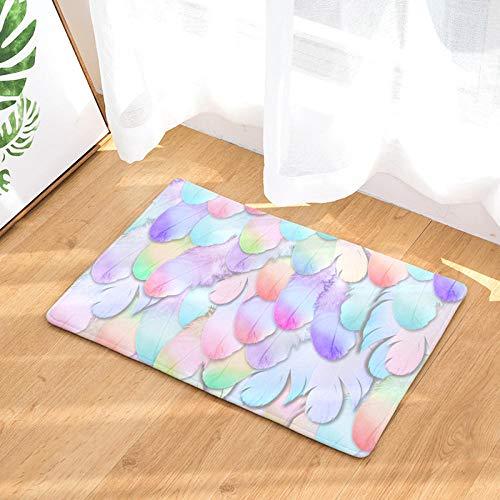 chuanglanja Badmat antislip haarkleur absorberend keuken badkamer bont bedrukt mat rechthoekig 50 * 80cm veren