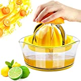 Lemon Citrus Orange Juicer Manual Hand Squeezer, Hand Juicer Press Citrus Lemon Orange Juicer Manual Hand Squeezer with Built-in Measuring Cup,Yellow