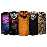 S A - UV Face Shield 5 Pack - Haunted - Multipurpose Neck Gaiter, Balaclava, Elastic Face Mask for Men and Women
