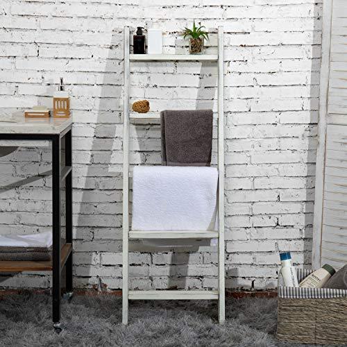 MyGift 4.5-Foot Vintage White Decorative Blanket Storage Ladder