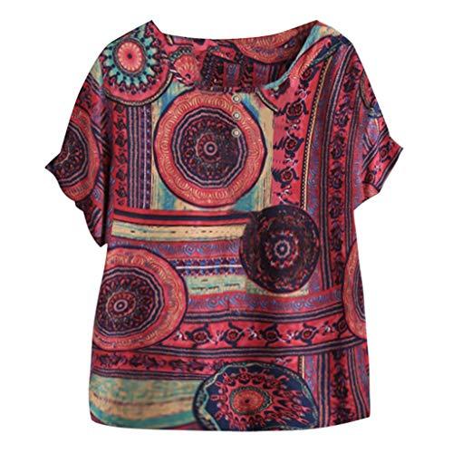 VEMOW Camiseta Mujer Casual Talla Extra Manga Corta Elegante Algodón Lino Cuello Redondo Impresión Blusa Parte Superior Tops Shirts tee Verano OtoñO(D Rojo,5XL)