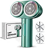 Fabric Shaver, RANVOO Electric Lint Remover, Dual-Head Lint Shaver, Rechargeable Sweater Shaver with 6-Leaf Blades, Efficiently Faster Fuzz Remover for Clothes, Bedding and Furniture, Green