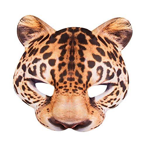 Boland 56731 - Halbmaske Leopard, one size, realistischer Druck auf Polyester/EVA, Gummizug, Karneval, Halloween, Fasching, Mottoparty, Kostüm, Theater, Verkleidung, Accessoire