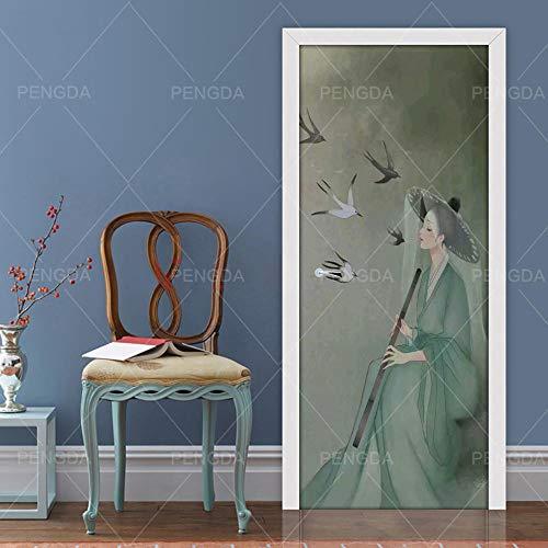 BXZGDJY 3D-deur, zelfklevend, muurschildering - oud kostuum meisjesvogel Pvc afneembare deur film DIY sticker bloem woonkamer slaapkamer kinderen restaurant kantoor bar deur kunst decoratie 95x215cm