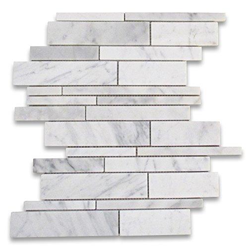 Stone Center Online Carrara White Italian Carrera Marble Random Strip Modern Brick Mosaic Tile Honed Venato Bianco Bathroom Kitchen Wall Floor Tile