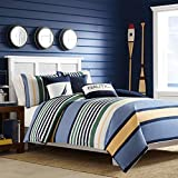 Nautica Dover Collection Comforter Set-100 Percent Cotton, Ultra Soft Bedding with Matching Sham, Machine Washable Easy Care, Twin, Blue
