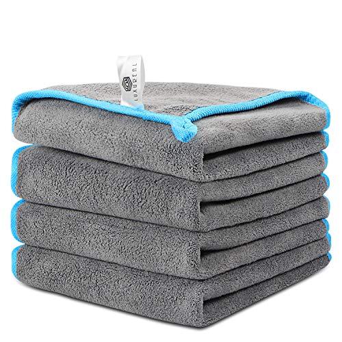 Faireach Microfasertuch Autopflege 4er Set Luxureal Mikrofasertücher Poliertücher Trockentuch Microfaser Tuch Auto für Polieren Waschen Trocken Staubwischen und Pflegen, 40 x 40 cm