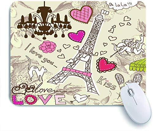 Dekoratives Gaming-Mauspad,Kritzeleien Illustration von Eiffelturm Herzen Kronleuchter Blume Liebe Valentines Vintage,Bürocomputer-Mausmatte mit rutschfester Gummibasis