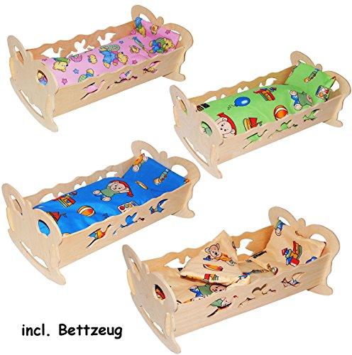alles-meine.de GmbH 1 Stück _ Holz - Puppenwiege / Puppenbett - 50 cm -  Schmetterling  - incl. Bettzeug - aus Naturholz - Decke & Kopfkissen - für Puppen - Wiege Kinderbett Be..