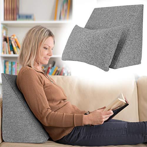Selfitex praktisches Keilkissen, Lesekissen, Rückenstütze, ergonomische Form (50x40 cm Höhe 25 cm), inklusive Relaxkissen, Sofakissen, Wellness-Kissen 2er Set für Bett/Sofa/Couch (Grau)