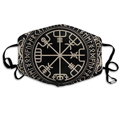 Comfortable Adjustable Black Celtic Viking Design Magical Runic Compass Vegvisir In The Circle Of Norse Runes And Dragons Tattoo Decorative Facial Decorations For Women And Men