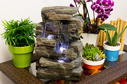 Alpine FBA_WIN220 Waterfall Tabletop Fountain w/White LED Light, 13 Inch Tall, Gray