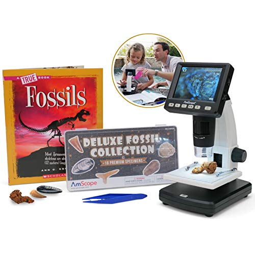 AmScope - DM130-16GB-18FOS-FSL-TW IQCREW by Amscope Kid's Premium Portable LCD Color Digital Microscope with Look and Learn Fossil Collecting Activity Kit
