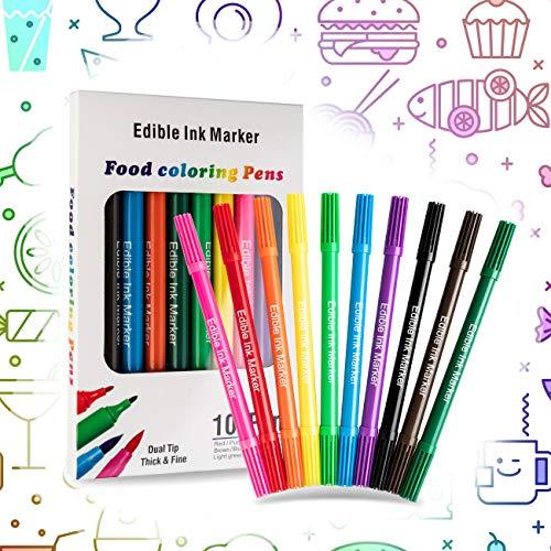 10 PCS Bolígrafos Comestibles para Decoración de Pasteles,Marcador de Coloración de Doble Punta,Colorante Alimentario de Bricolaje para Decorar Huevos de Pascua Cumpleaños,10 Colores Comida Rotulador