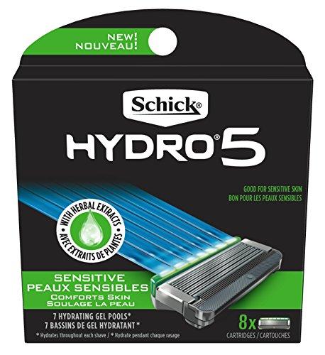 Schick Hydro 5 Sense Sensitive Skin Razor Refills for Men, Pack of 8