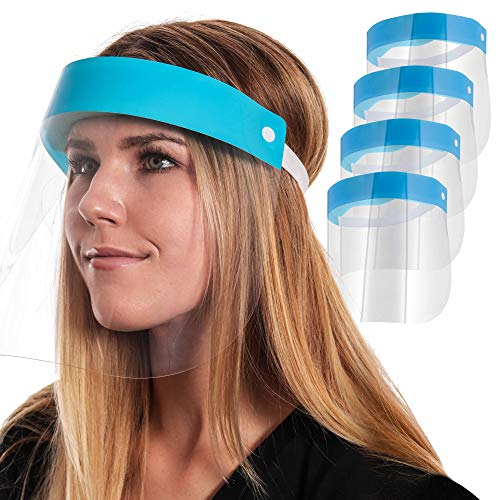 Salon World Safety Face Shields - Ultra Clear Protective Full Face Shields to Protect Eyes, Nose and Mouth - Anti-Fog PET Plastic, Elastic Headband - Sanitary Droplet Splash Guard Cover (Pack of 4)