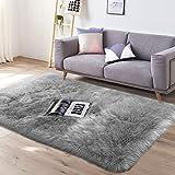 YJ.GWL Super Soft Faux Sheepskin Fur Area Rugs for Bedroom Floor Shaggy Plush Carpet Faux Fur Rug Bedside Rugs, 3 x 5 Feet Rectangle Grey