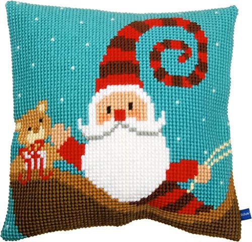 Vervaco, Kit Punto Croce, Motivo: Babbo Natale Felice, Misto Cotone, Assortiti, 43,5x 23,5x 30cm