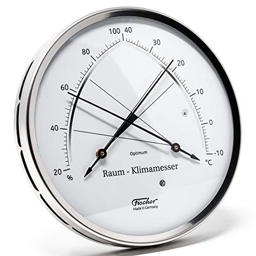 Fischer 146.01 - Raum-Klimamesser - 100mm Synthetic-Hygrometer und Bimetall-Thermometer aus Edelstahl Made in Germany
