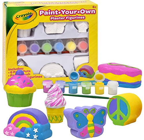 Crayola Paint Your Own Figurines, Decorate Your Own Painting Set, Includes 6 Figurines, 6 Pots of Paint, Complete Plaster Craft Kit for Kids