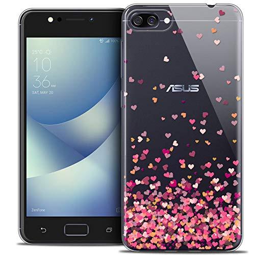 Caseink Coque pour ASUS Zenfone 4 Max ZC520KL (5.2) Housse Etui [Crystal Gel HD Collection Sweetie Design Heart Flakes - Souple - Ultra Fin - Imprimé en France]