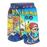 Yiovqez Teens Youth Anime Summer Shorts Beach Pants Casual Kids Swim Shorts with Pocket