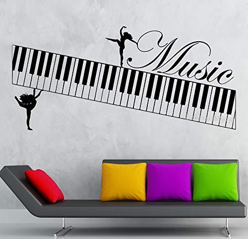 Sanzangtang Muurstickers muziek piano instrument vinyl zelfklevende bloem kunst woonkamer danskamer decoratie behang
