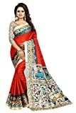 ETHNICMODE Indian Women's Khadi Silk Fabrics Multi-Colored Printed Sari with Blouse Piece (Fabric) KALAMKAARI 6 Red