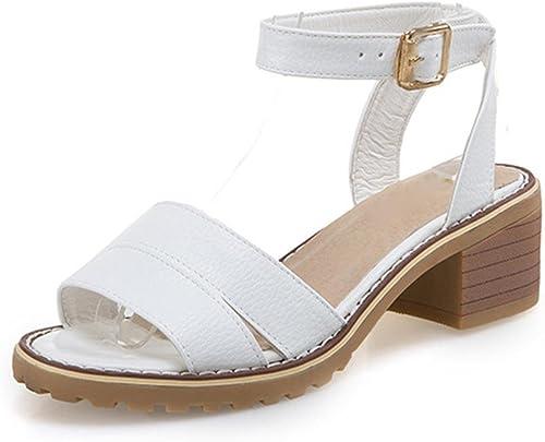Été sandales à bout ouvert chaussures boucle de mot avec une épaisseur imperméable sandales femme Taiwan étudiants , blanc , US6   EU36   UK4   CN36