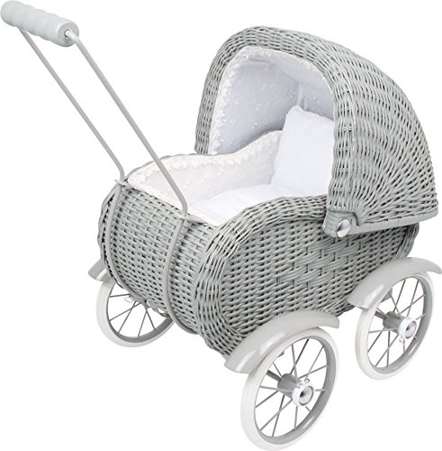 Small Foot Toys Baby Doll Grey Vintage Wicker Pram Designed for Children Ages 3+ Years