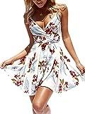 ECOWISH - Vestido de verano con correa de espaguetis y correa de espagueti con cinturón