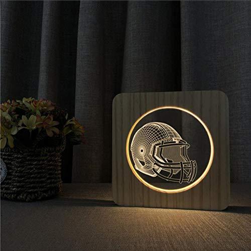 Layyqx muziekgitaar, hexphone koptelefoon vliegtuig tank lamp voetbal USB 3D LED nachtlampje hout warm licht party cadeau