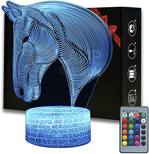 Horse 3D Lamp Night Light, 16 Colors Changeable Remote Control Horse 3D Light, Creative Birthday Xmas Horse Lamp Gifts for Boys Girls