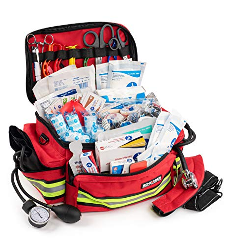 Scherber First Responder Bag | Fully-Stocked Professional Essentials EMT/EMS Trauma Kit | Reflective Bag w/8 Zippered Pockets & Compartments, Shoulder Strap & 200+ First Aid Supplies - Red