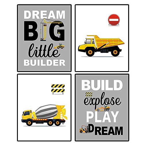 "Cartoon Construction Trucks themed Transport Vehicle Cool Art Print Set of 4 (10""X8""), Funny Inspirational Words Poster Painting for Grandson Son Nursery or Kids Boy Room Home Decor, No Frame"