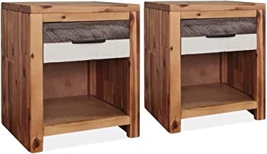 vidaXL 2X Solid Acacia Wood Bedside Tables with Lacquer Living Room Nightstand Side Table Modern Furniture Sturdy Cabinet ...