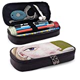 XCNGG Estuche para lápices neceser PU Leather Pencil Case Zipper Stationery Organizer - Abstract Painting Lady