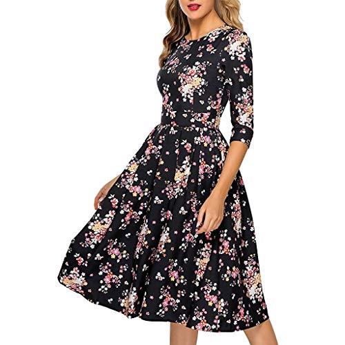 Ladies Dress,Meet&sunshine Women's Fashion 3/4 Sleeves Vintage Floral Printed Elegant Midi Evening Dress (L)