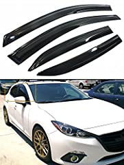 Fitment: FOR 2014-2019 MAZDA 3 MAZDA3 Sedan & Hatchback. This is Only For the New Mazda 3 shown In Picture. Will Not Fit the Old Generation Mazda 3 3D Aero Wavy Style Dark Tinted Window Visor Rain Guard Set (Total 4 Pieces) Already Comes With Pre-App...