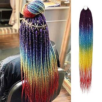 9 Packs 32 Inch AU-THEN-TIC Box Braid Crochet Hair Crochet Box Braids Hair Mambo Twist Braiding Pre-Stretched Pre Looped Hair Extensions  9-Pack RAINBOW