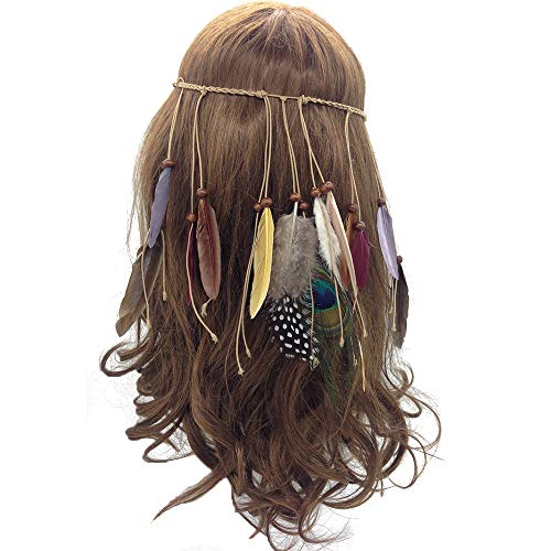 Feather Headband Hippie Indian Boho Hair Hoops Tassel Bohemian Headdress Headwear Headpiece Women Girls Kids Crown Hairband Hair Bands Party Decoration Cosplay Costume Handmade Hair Accessories Gray