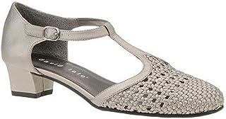 David Tate Womens Emma Leather Closed Toe T-Strap Classic Pumps, Grey, Size 10.0