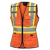 Pioneer Hi Vis Breathable 5 Point Tear-Away Women Safety Vest, Orange, M, V1023650-M