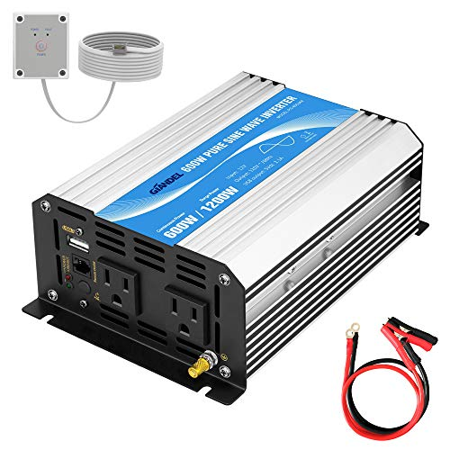 GIANDEL Power Inverter Pure Sine Wave 600Watt 12V DC to 110V 120V with Remote Control Dual AC Outlets and USB Port for RV Car Solar System Emergency