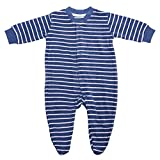 Living Crafts Baby/Kinder Frottee-Schlafanzug Bio-Baumwolle Denim Blue/White Striped 92