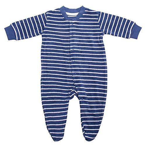 Living Crafts Baby/Kinder Frottee-Schlafanzug Bio-Baumwolle Denim Blue/White Striped 68