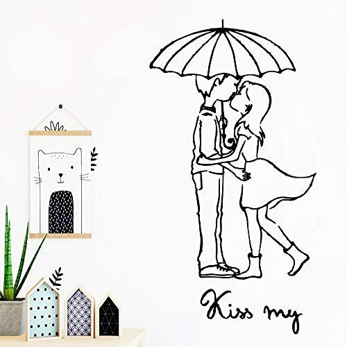 JXFM Romantisch kus Mijn zelfklevend vinylbehang woonkamer bedrijf decoratie waterdicht muurkunst sticker muursticker