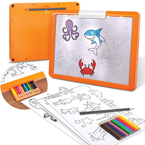 Discovery Kids LED Illuminated Tracing Tablet, 34 Piece Set with Pencils, Paper & Templates