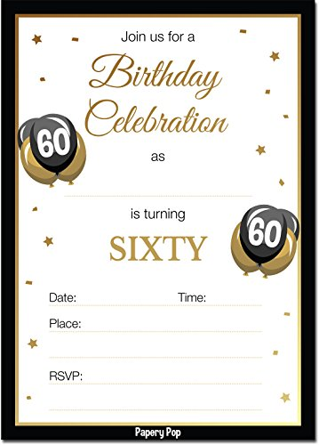 60th Birthday Invitations with Envelopes (30 Count) - 60 Sixty Year Old Anniversary Party Celebration Invites Cards