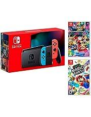 Nintendo Switch 32GB neon-rood/neon-blauw Pack Super Mario Party + Mario Kart 8 Deluxe